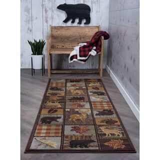 Alise Rugs Natural Lodge Novelty Lodge Runner Rug - multi - 2'7 x 7'3