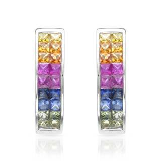 14k White Gold Multi Sapphire Hoop Earrings