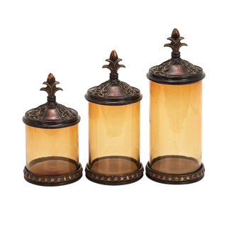Polystone Glass Canisters (Set of 3)