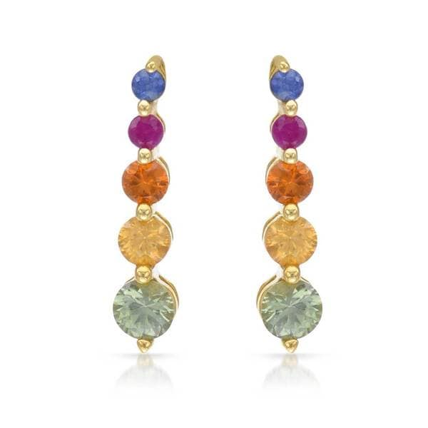 10k Yellow Gold Multi Colored Shire Drop Earrings
