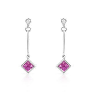 14k White Gold Pink Sapphire and Diamond Accent Dangle Earrings