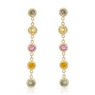 14k Yellow gold Multi Sapphire Dangle Earrings