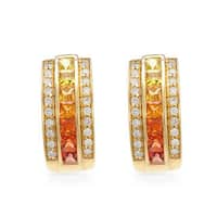 14k Yellow Gold Multi-colored Sapphire and Diamond Accent Clip-on Earrings