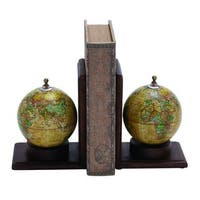 Copper Grove Chatfield Wooden and Metal Globe Bookends (Set of 2)
