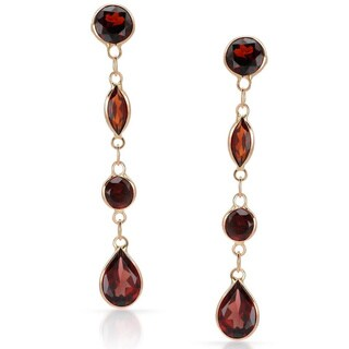 14k Rose Gold Garnet Dangle Earrings