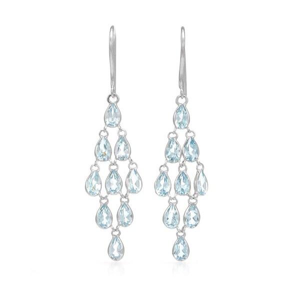 Shop 14k white gold blue topaz chandelier earrings free shipping 14k white gold blue topaz chandelier earrings aloadofball Image collections