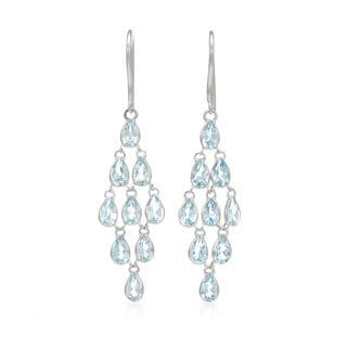 14k White Gold Blue Topaz Chandelier Earrings