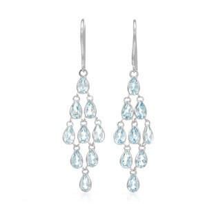 14k White Gold Blue Topaz Chandelier Earrings