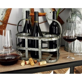 Farmhouse 7 x 13 Inch 6-Bottle Cage Iron Wine Holder by Studio 350