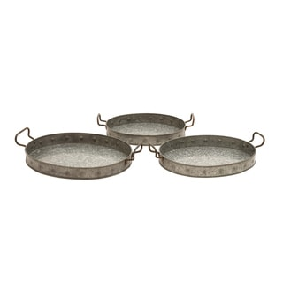 Galvanized 3-piece Handled Tray Set