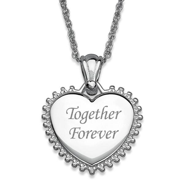 Silver Plated Sunburst Framed Heart Necklace