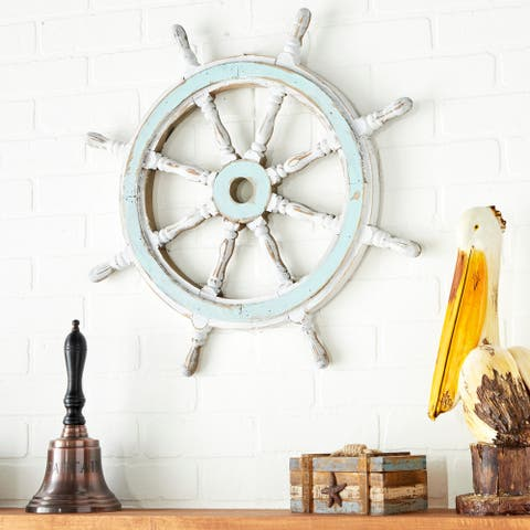 Nautical Decor Wood Ship Wheel - White