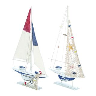 Assorted White Wooden Sailing Boat (Set of 2)