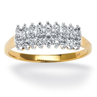1/7 TCW Round Diamond Peak Ring in 18k Yellow Gold over Sterling Silver