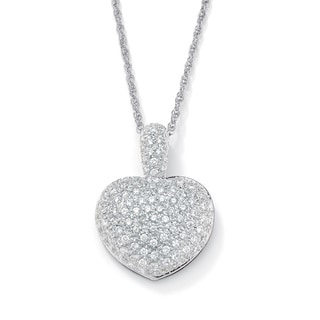 "PalmBeach 2.50 TCW Cubic Zirconia Heart-Shaped Pendant and Chain Platinum-Plated 18"" Glam CZ"