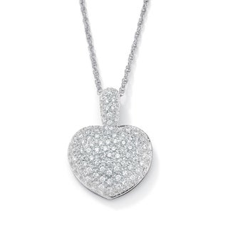 "2.50 TCW Cubic Zirconia Heart-Shaped Pendant and Chain Platinum-Plated 18"" Glam CZ"