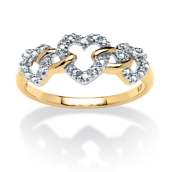 PalmBeach Diamond Accent Triple Heart Link Ring in 18k Gold over Sterling Silver