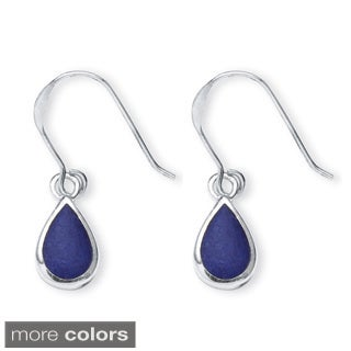 PalmBeach Mother-of-Pearl, Onyx and Lapis Three-Pair Set of Pear Drop Earrings in .925 Sterling Silver Naturalist