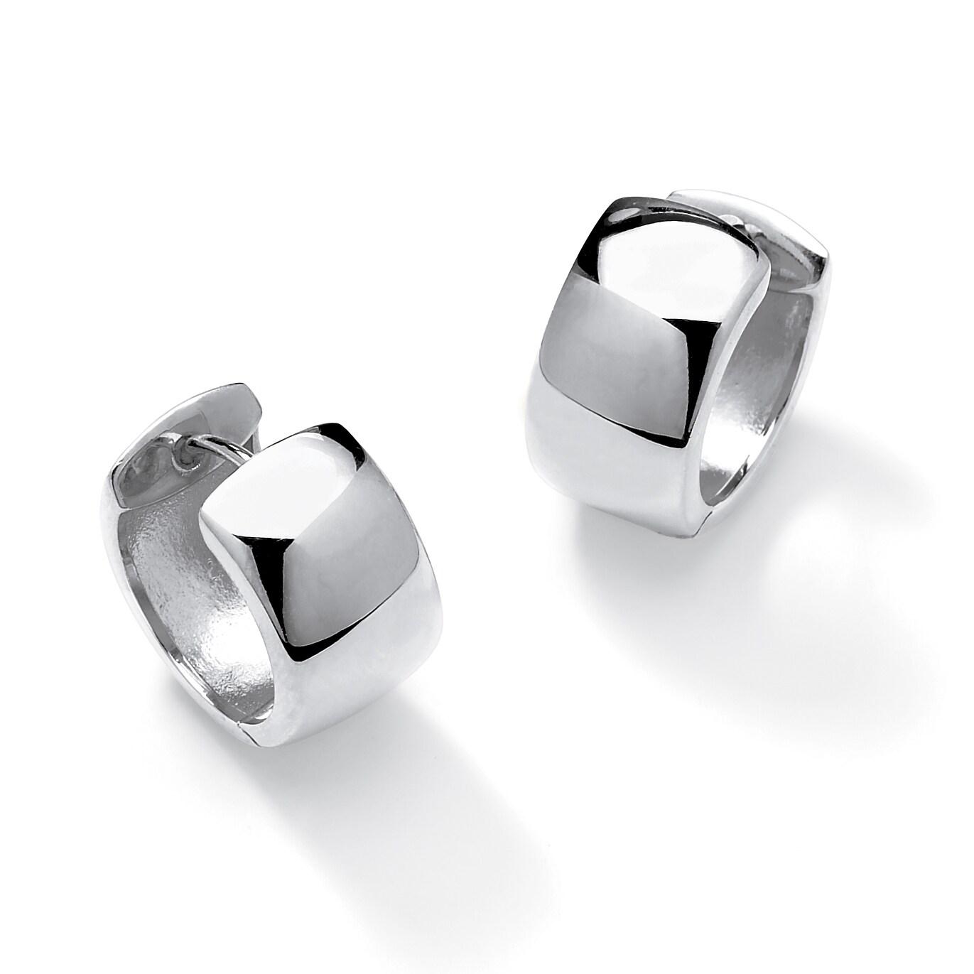 Silver Hoop Leverback Earrings Steel Earring Round 1,2x40mm 2 pcs 1 Pair