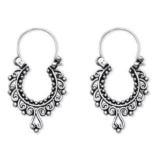 Openwork Scroll Drop Earrings in .925 Sterling Silver Tailored