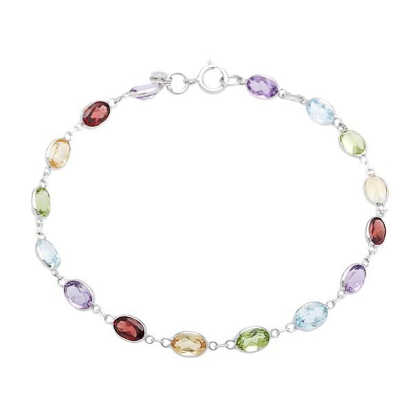 14k White Gold Multi Colored Gemstone Bracelet Purple