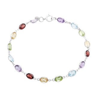 14k White Gold Multi-colored Gemstone Bracelet