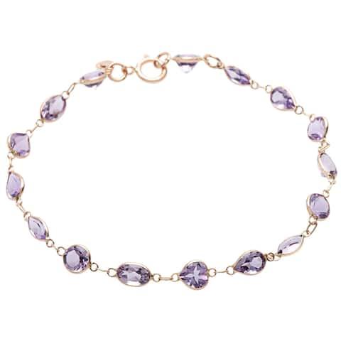 14k Yellow Gold Purple Amethyst Bracelet