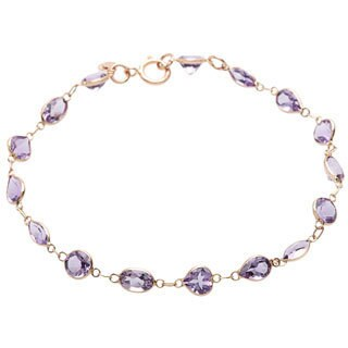 14k Yellow Gold Purple Amethyst Bracelet