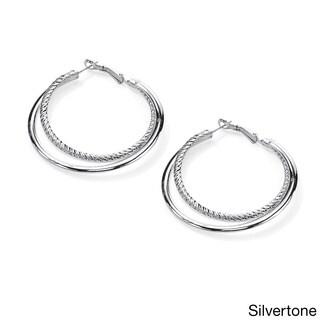 Goldtone or Silvertone Double Hoop Earrings Tailored