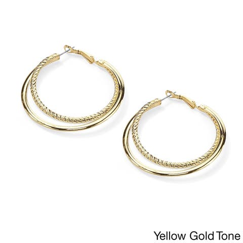 Gold Tone Textured and Smooth Double Hoop Earrings (55mm)