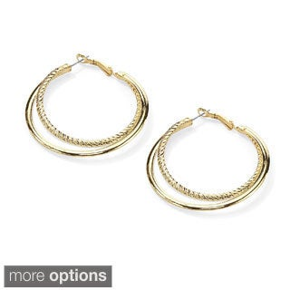 PalmBeach Goldtone or Silvertone Double Hoop Earrings Tailored