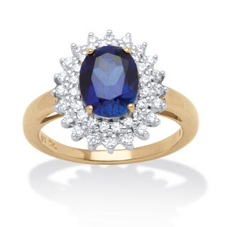 2.60 TCW Oval-Cut Midnight Blue Sapphire and Round Cubic Zirconia Ring in 18k Gold over St