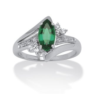 PalmBeach 1.52 TCW Marquise-Cut Emerald Ring in Platinum over Sterling Silver Color Fun