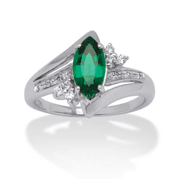 1.52 TCW Marquise-Cut Emerald Ring in Platinum over Sterling Silver Color Fun
