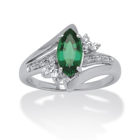 Platinum over Sterling Silver Emerald and Round Cubic Zirconia Ring