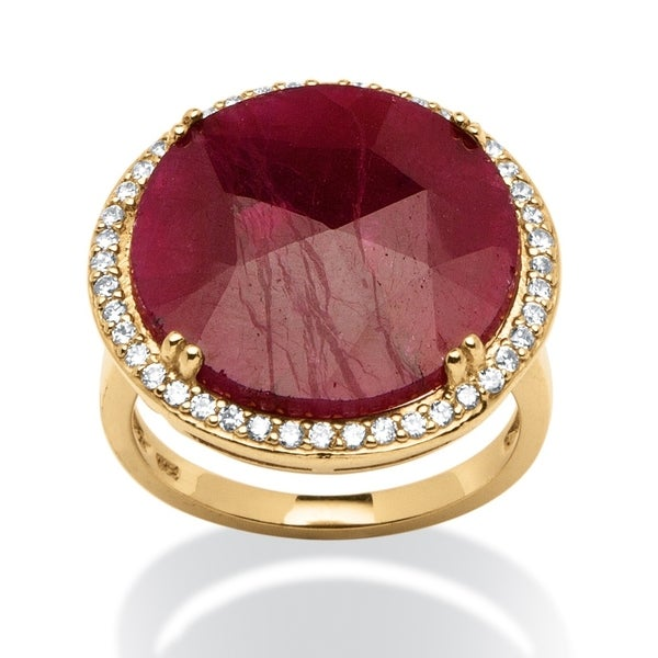 18K Gold over Sterling Silver Ruby and Cubic Zirconia Cocktail Ring
