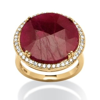 14.35 TCW Round Ruby and Cubic Zirconia Ring in 18k Gold over Sterling Silver