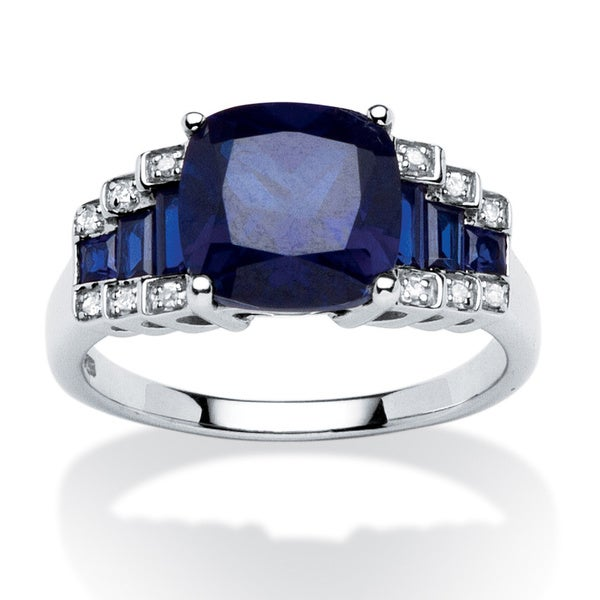 3.15 TCW Cushion-Cut Sapphire and Diamond Accent Step-Top Ring in Platinum over Sterling S - Blue
