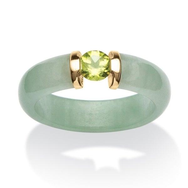 10K Yellow Gold Genuine Jade and Round and Green Genuine Peridot Ring