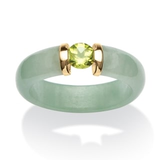 .50 TCW Round Peridot and Jade Ring in 10k Gold Naturalist