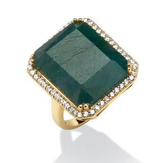 18.88 TCW Emerald-Cut Green Sapphire and Cubic Zirconia Ring in 18k Gold over Sterling Sil