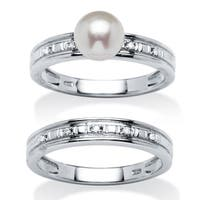 Genuine Freshwater Pearl and Diamond Accent Bridal Set in Platinum over .925 Sterling Silv