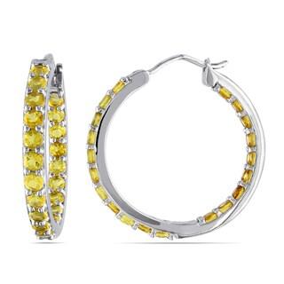 Miadora Sterling Silver Citrine Hoop Earrings