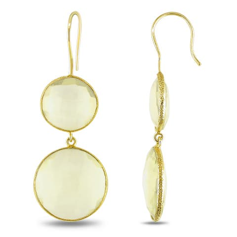 Miadora 22k Yellow Gold Plated Goldtone Synthetic Lemon Quartz Earrings