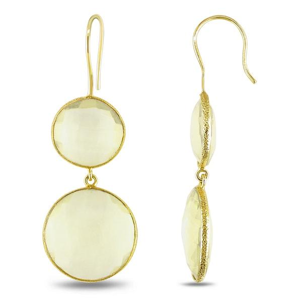 Miadora 22k Yellow Gold Plated Goldtone Synthetic Lemon Quartz Earrings. Opens flyout.