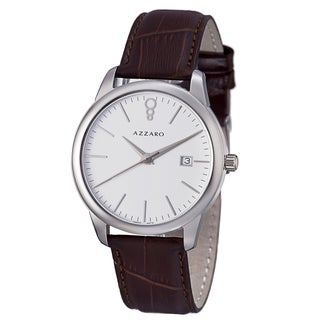 Azzaro Men's AZ2040.12AH.000 'Legend' White Dial Brown Leather Strap Quartz Watch