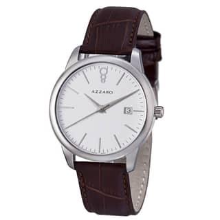 Azzaro Men's AZ2040.12AH.000 'Legend' White Dial Brown Leather Strap Quartz Watch|https://ak1.ostkcdn.com/images/products/8642573/Azzaro-Mens-AZ2040.12AH.000-Legend-White-Dial-Brown-Leather-Strap-Quartz-Watch-P15904760.jpg?impolicy=medium
