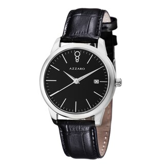 Azzaro Men's 'Legend' Black Dial Black Leather Strap Quartz Watch