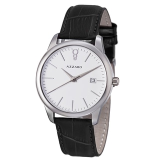 Azzaro Men's AZ2040.12AB.000 'Legend' White Dial Black Leather Strap Quartz Watch