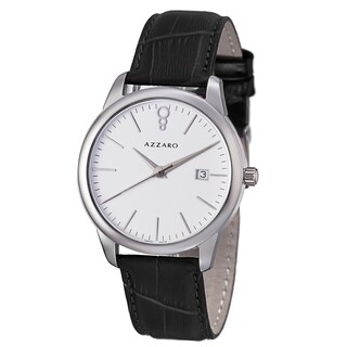 Azzaro Men's 'Legend' White Dial Black Leather Strap Quartz Watch